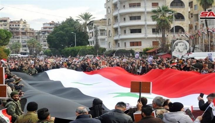 Suriye Halkı Kasım Süleymani İçin Sokaklara Döküldü