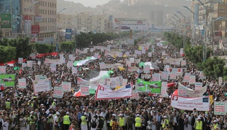 Yemenliler Filistin İçin Sokaklara Döküldü