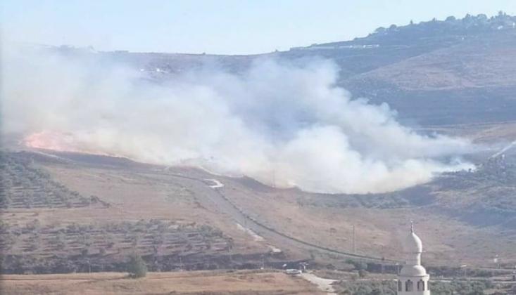 Siyonist Rejim Filistinlilere Ait Tarım Arazisini Ateşe Verdi
