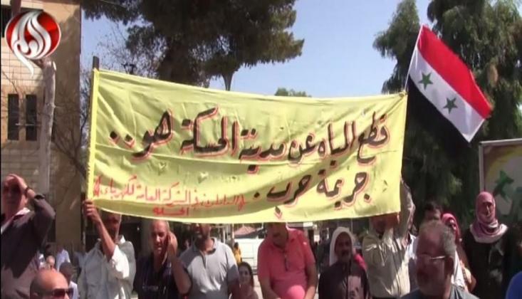 Haseke Halkı Türkiye'nin Suyu Kesmesini Protesto Etti